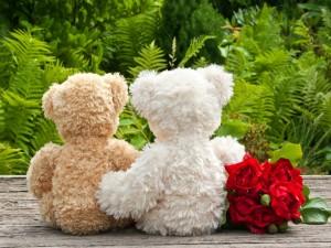 Dos osos de peluche junto a un ramo de rosas