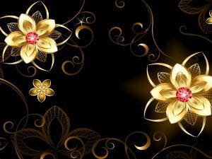 Postal: Flores doradas