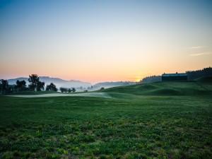 Postal: Amanecer en un gran campo verde