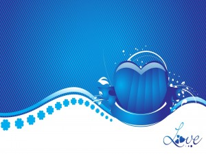 Postal: Corazón de amor azul