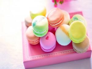 Macarons sobre una caja rosa
