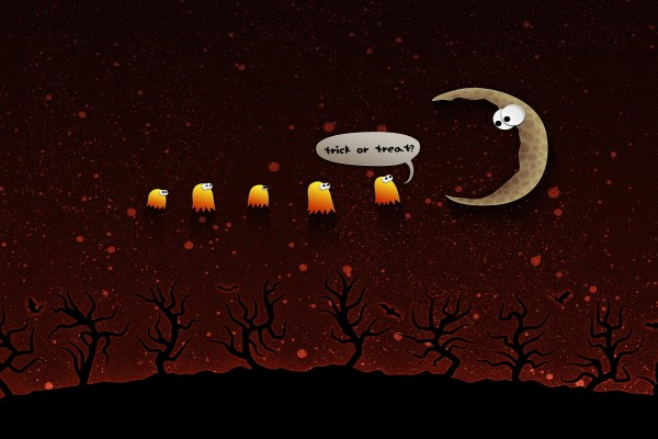 """Fantasmitas en Halloween preguntando a la luna """"¿truco o trato?"""""""