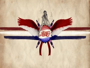 Postal: Chapa con alas de Pepsi-Cola