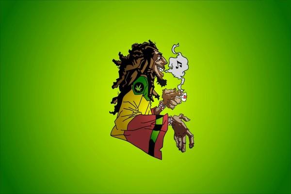 Una caricatura del cantante de reggae Bob Marley