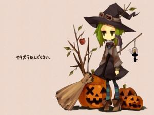 Bruja triste en la noche de Halloween