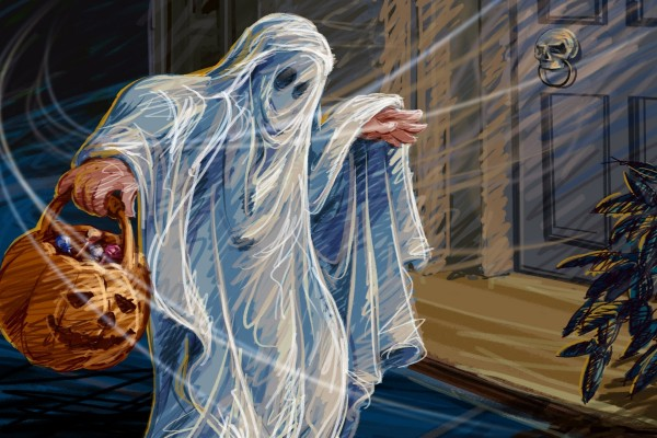 Fantasma junto a una puerta pidiendo caramelos en Halloween