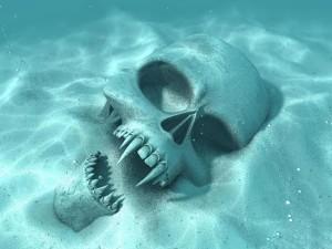 Postal: La calavera de un vampiro en el fondo del mar