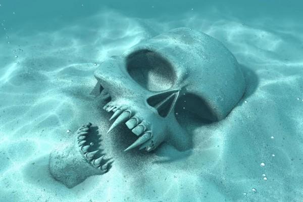 La calavera de un vampiro en el fondo del mar