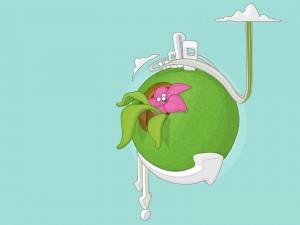 Planeta verde con una gran flor rosa