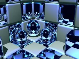 Cubos y bolas plateadas