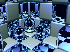 Postal: Cubos y bolas plateadas