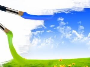 Postal: Pintando el cielo y el campo verde