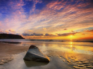 Una piedra en la orilla húmeda de la playa