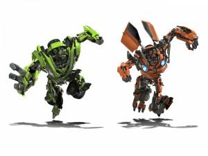 Los muñecos de Skids y Mudflap (Transformers 2)