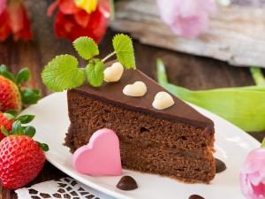 Postal: Pastel de chocolate relleno con dulce de leche