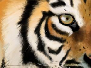 Postal: Un ojo de tigre en una pintura