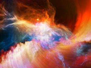 Remolino de luz y color en el espacio