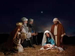 Postal: Regalos de Navidad de los Reyes Magos en el nacimiento de Cristo