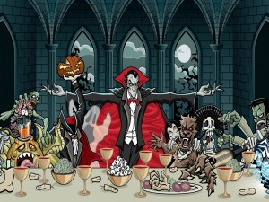 Postal: La última cena de Halloween