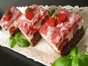 Pasteles de fresas y chocolate