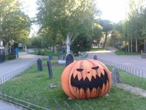 Gran calabaza de Halloween en el Parque de Atracciones de Madrid