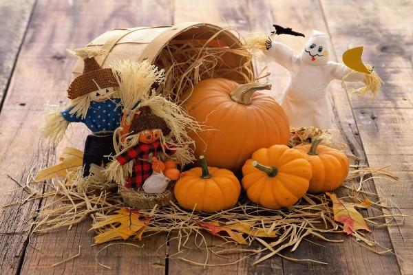 Bonita decoración con calabazas para Halloween
