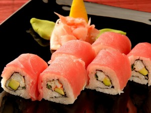 Postal: Sushi Rolls de salmón