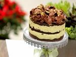 Tarta de chocolate con crema de pistacho