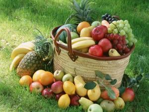 Postal: Abundantes frutas variadas sobre el césped