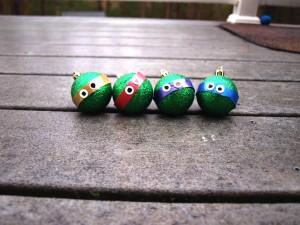 Postal: Bolas de Navidad de las tortugas ninja