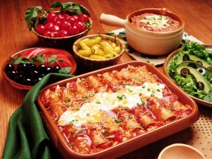 Postal: Una mesa con comida mexicana