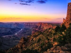Postal: Magnífico crepúsculo en el Gran Cañón