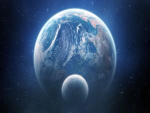 La Luna y la Tierra vistas en el espacio