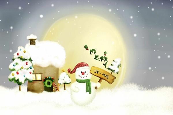 """Un muñeco de nieve te desea """"Feliz Navidad"""""""