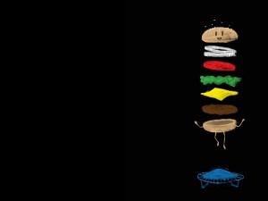 Postal: Una hamburguesa saltando en una cama elástica