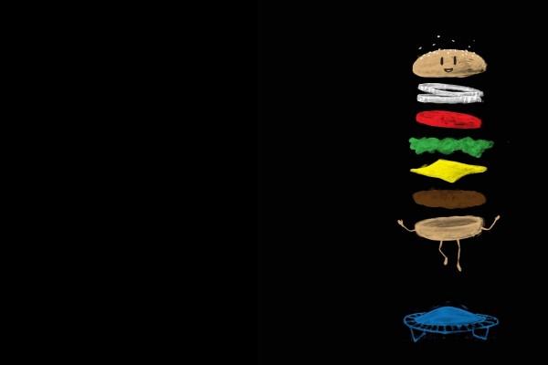 Una hamburguesa saltando en una cama elástica
