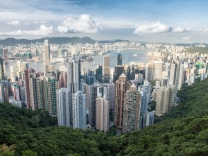 Postal: Hong Kong vista desde el pico Victoria