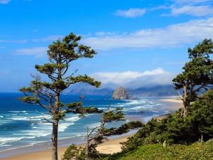 Postal: Vista de la roca del Haystack en la costa de Oregon