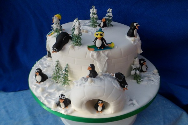 Divertida tarta de pingüinos