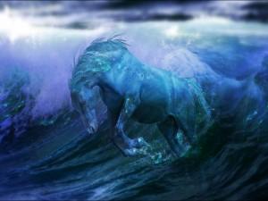 Un caballo entre las olas del mar