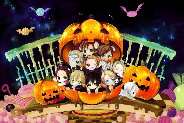 Niños anime dentro de una calabaza de Halloween