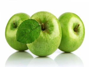 Postal: Tres manzanas verdes