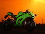 Una sensacional Kawasaki verde