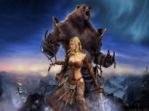 Postal: Un bella mujer guerrera y un oso