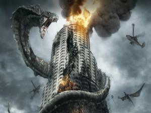 Postal: Serpiente gigante de fantasía