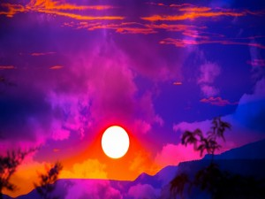 Postal: Bellos colores en el ocaso del sol