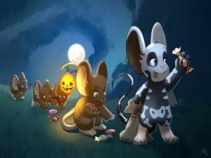 Postal: Animales del bosque recogiendo caramelos en la noche de Halloween