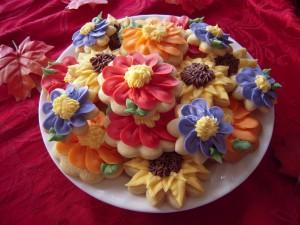 Galletas de flores de colores