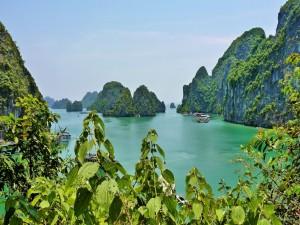 Postal: Vista de la bahía de Ha Long (Vietnam)