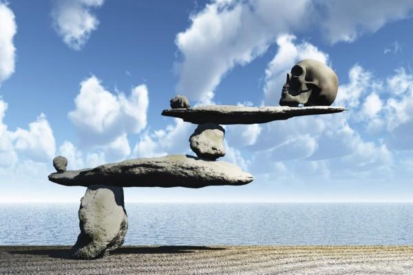 Cráneo en las rocas de la playa